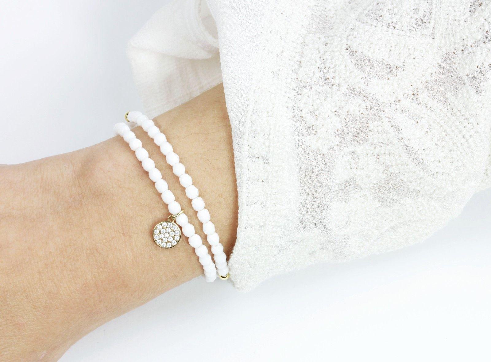 2er Armband Set Weiß Gold, Zirkonia Anhänger 925 Silber