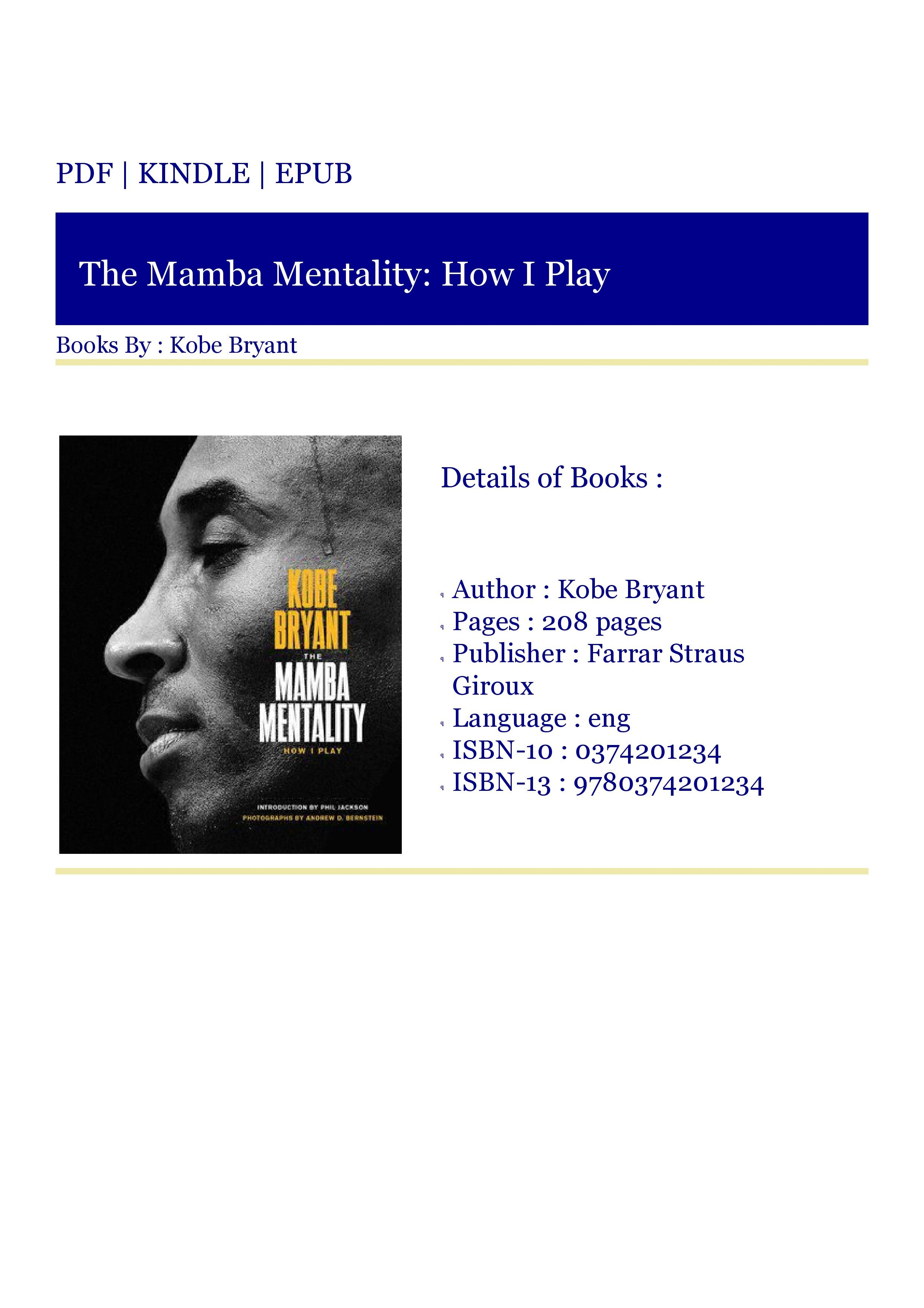 ***Download [PDF] The Mamba Mentality How I Play in 2020
