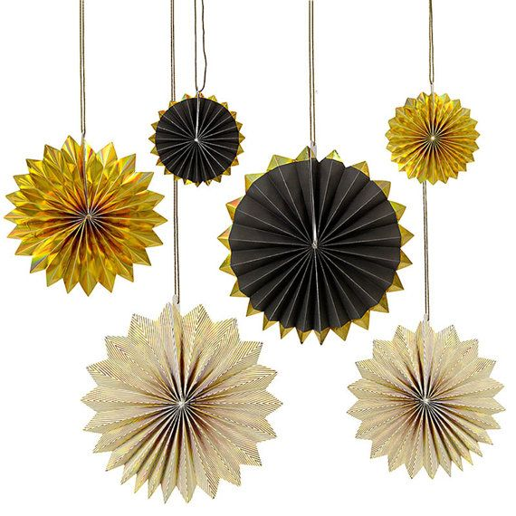 CLEARANCE Black and Gold Pinwheel Paper Fans set of 6 ...