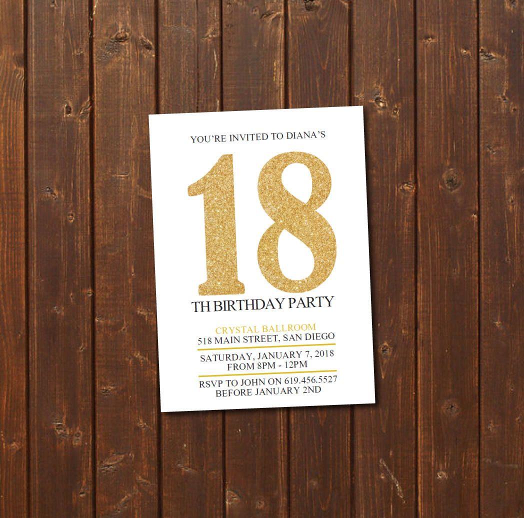 18th Birthday Invitation Printable Gold White Birthday Invitation