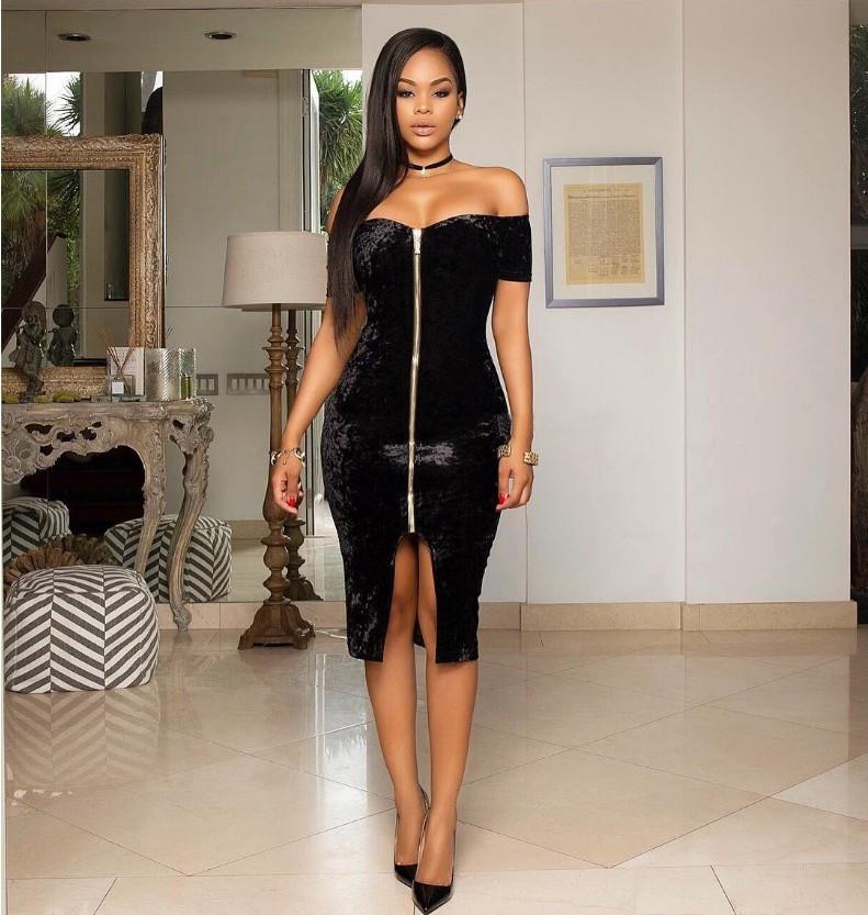 Sexy front zipper dress