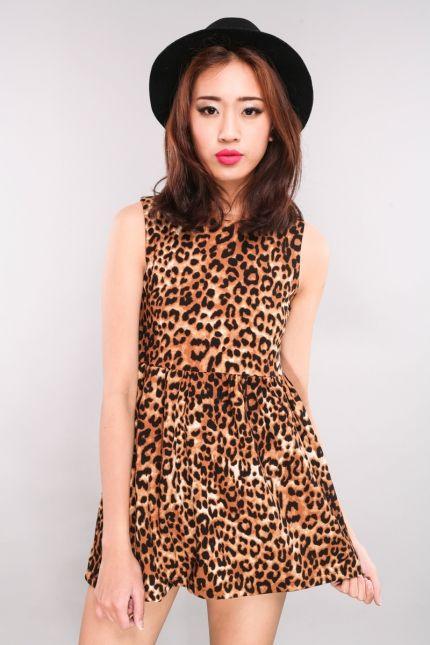 Rapel Leopard Print Tunic Dress - Brown | RUNWAY BANDITS