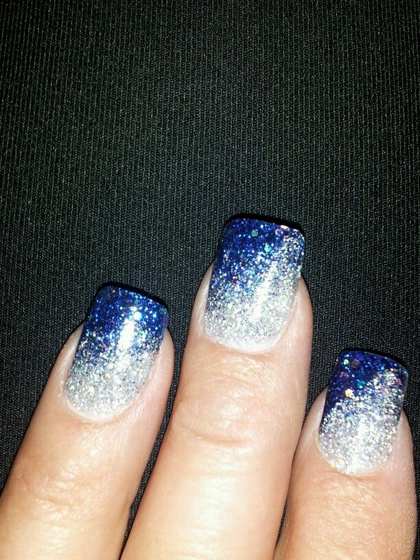 Blue and silver sparkle nails would be super pretty for wedding ...