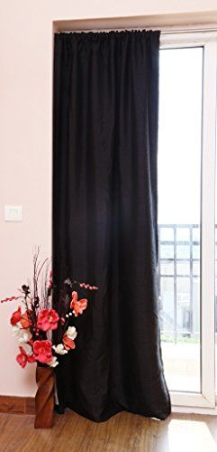 Zappy Cart Dupioni Faux Silk Curtain Each 51 Inch 130 Cm Wide X 120 304 Cm Long Rod Top With Normal Lining Black Color You Can Faux Silk Curtains Curtains Lined Curtains