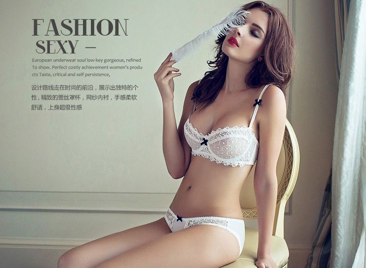 4c52ff9669f QIZHIMIAO Newest Very Sexy Women Half Cup Lace Bra + Briefs Plus Size  Ultra-thin Sexy Plunge Bra Sets A B C D Cup Free Shipping.
