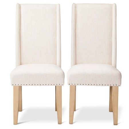 Miraculous Charlie Modern Nailhead Trim Wingback Dining Chair Cream Caraccident5 Cool Chair Designs And Ideas Caraccident5Info