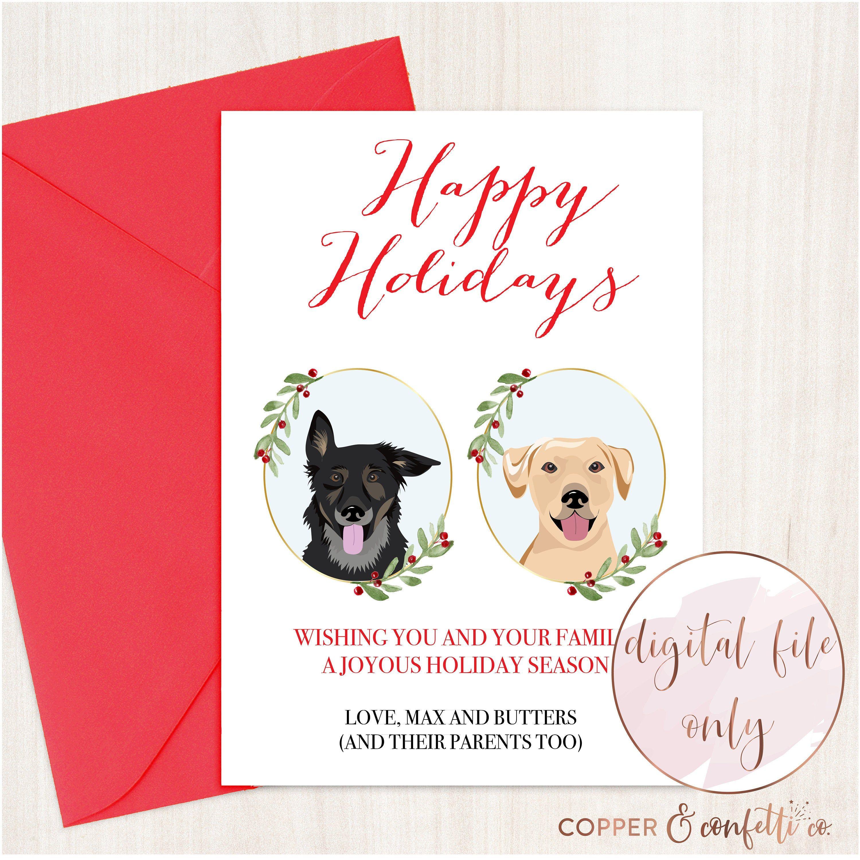 Custom 2 Dog Portrait Christmas Card