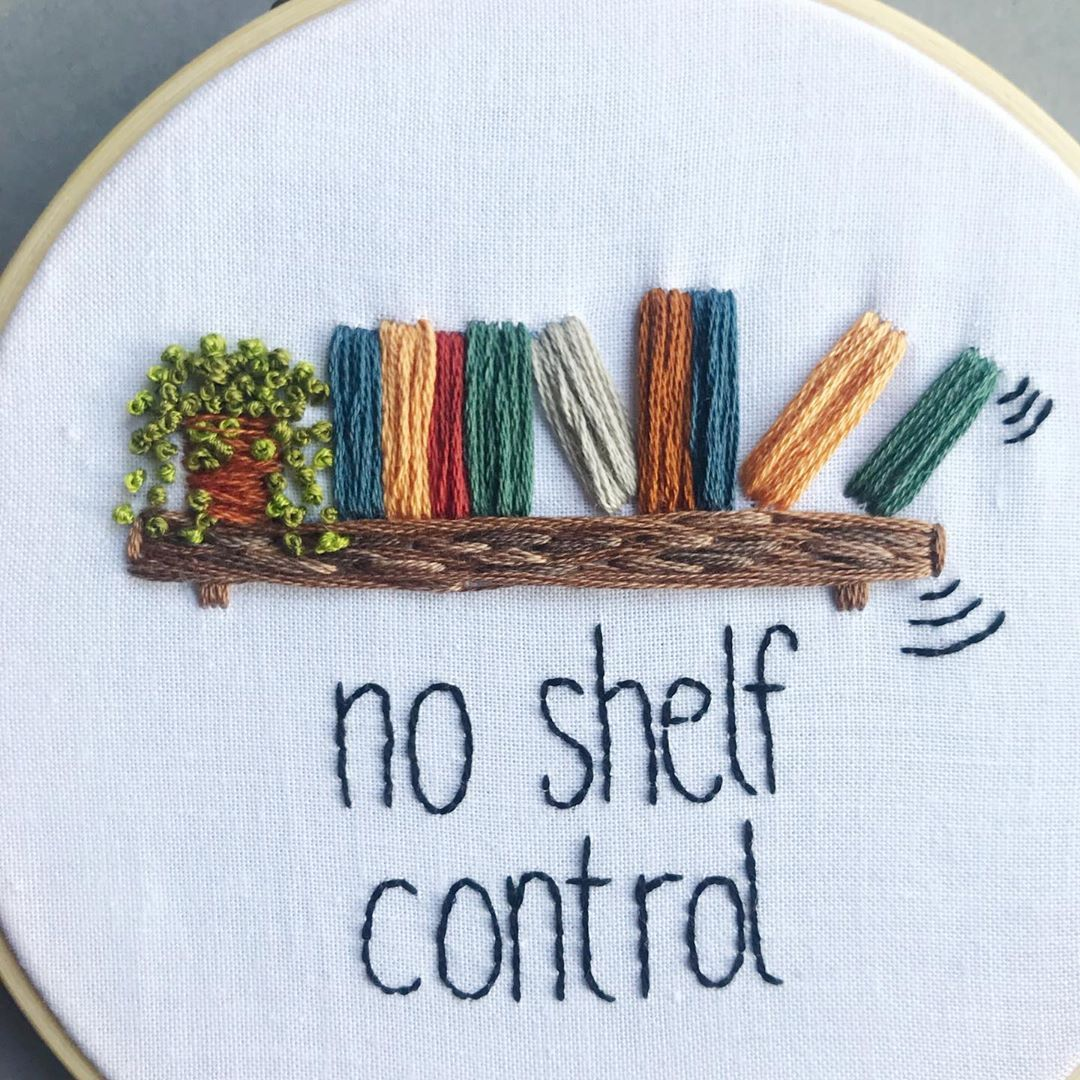 PDF Pattern: No Shelf Control, Beginner Embroidery Pattern, Bookworm Gift, Reader Gift, Gift for Friend, Needlecraft Pattern, DIY Gift