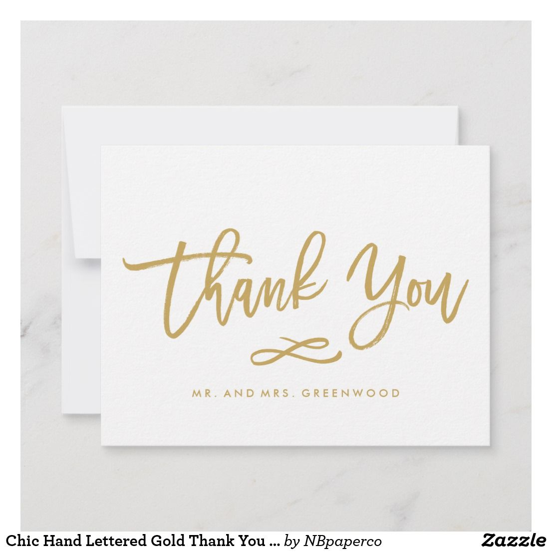 Chic Hand Lettered Gold Thank You Flat Card Zazzle Com