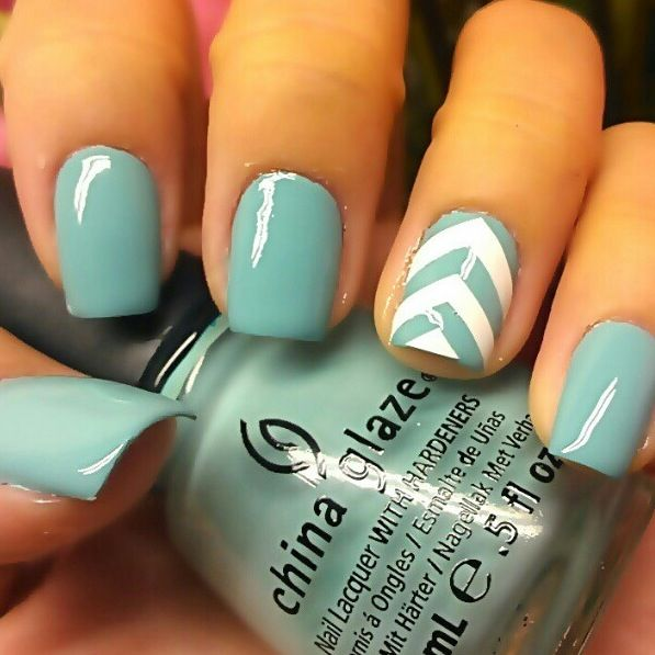 chevron light blue and white nail