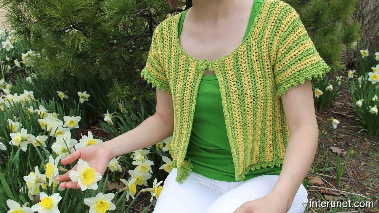 How to crochet women\'s short sleeve summer top - two colors crochet ...