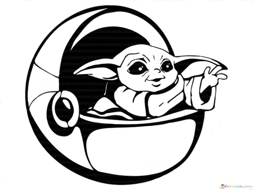 Coloring Pages Baby Yoda The Mandalorian And Baby Yoda Free Yoda Drawing Star Wars Art Star Wars Baby