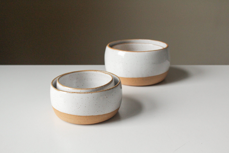 Set of 2 White Wheel Thrown Bowls