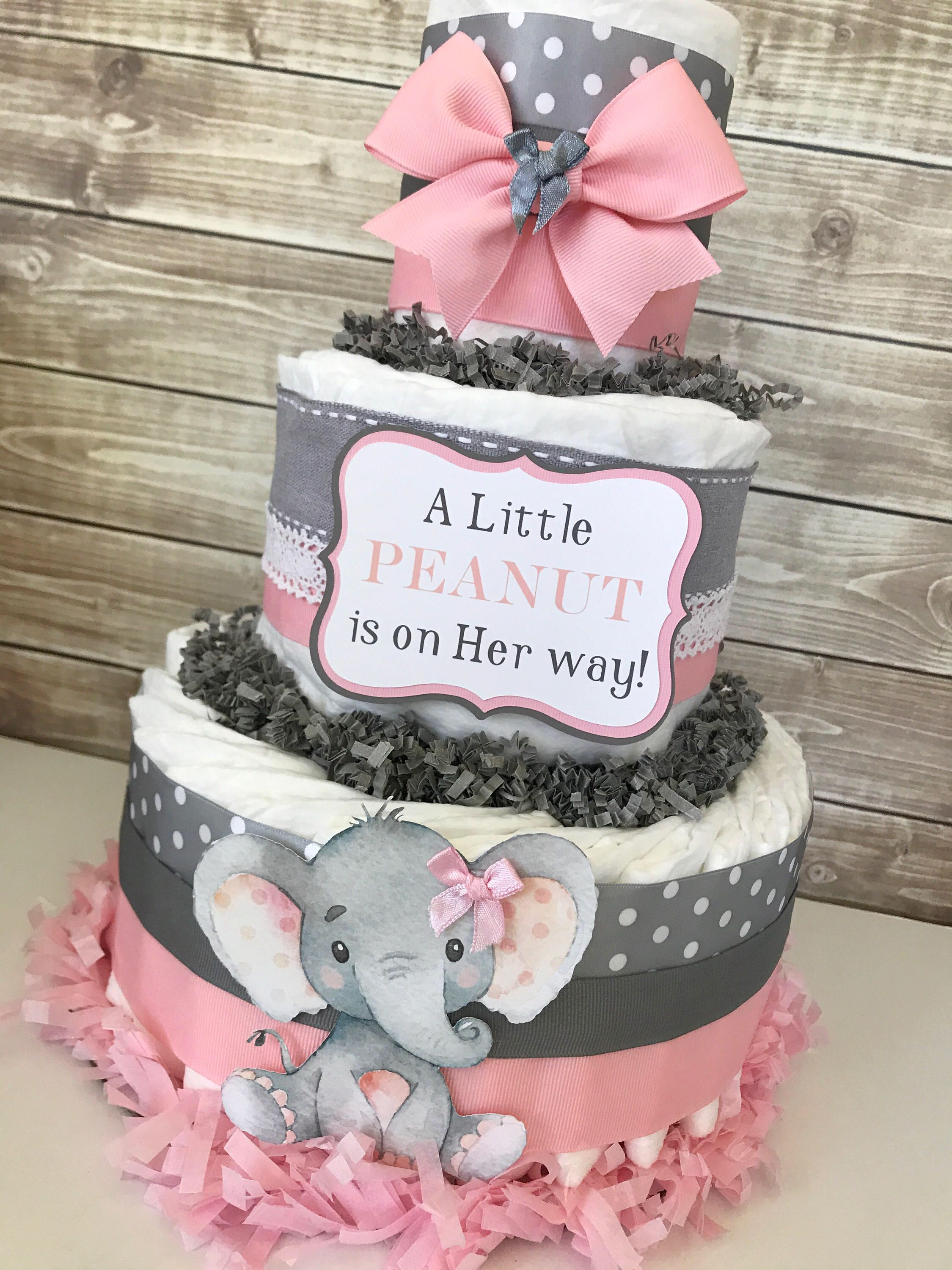 Elephant Diaper Cake, Elephant Baby Shower Centerpiece