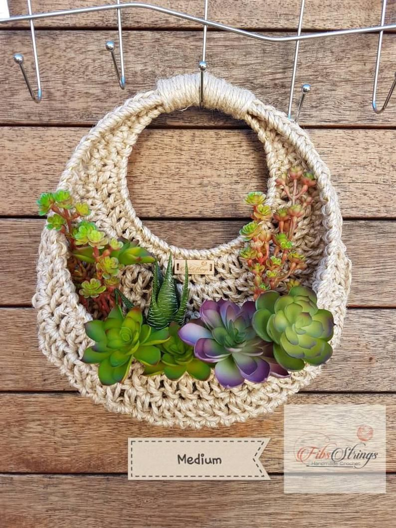 Handmade crochet jute wall hanging fibs strings original
