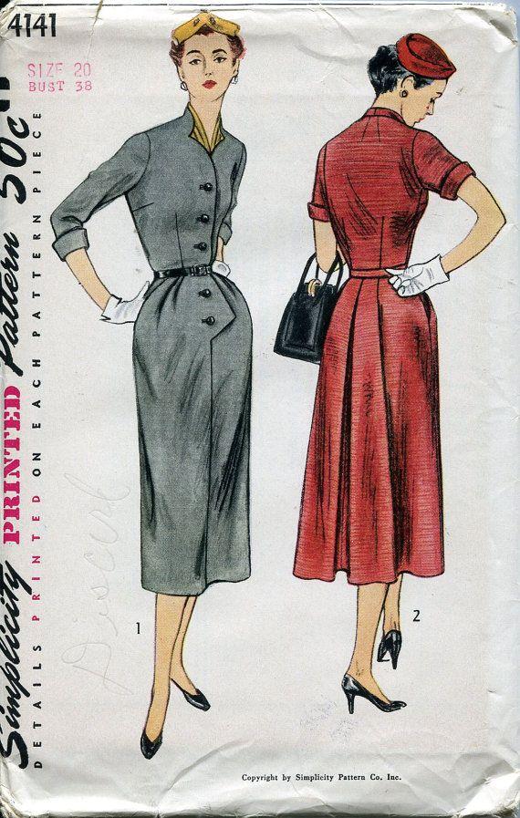 1950s Dress Pattern Simplicity 4141 Button Front Dress Suit Slim ...