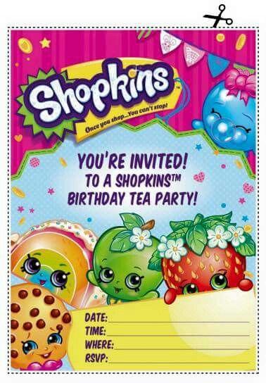 Shopkins Invite Shopkins Fiesta Invitaciones De