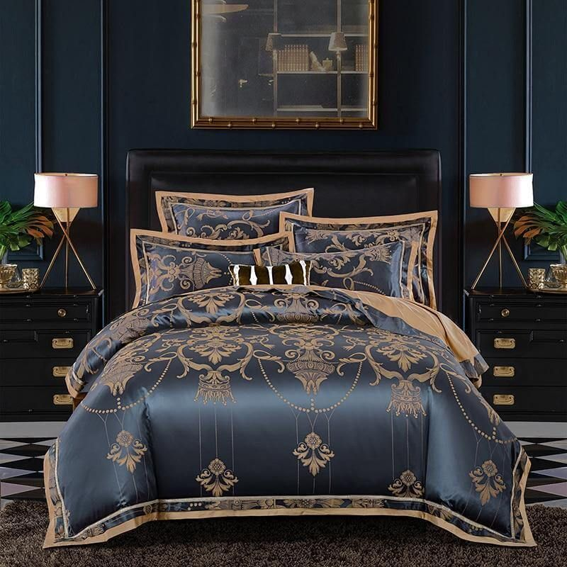 Blue Silver Luxury Bedding Set Free Worldwide Shipping Flat 40 Off 4 6 Or 10 Pieces S King Size Bedding Sets Duvet Bedding Sets Duvet Cover Sets Luxury bedding king size