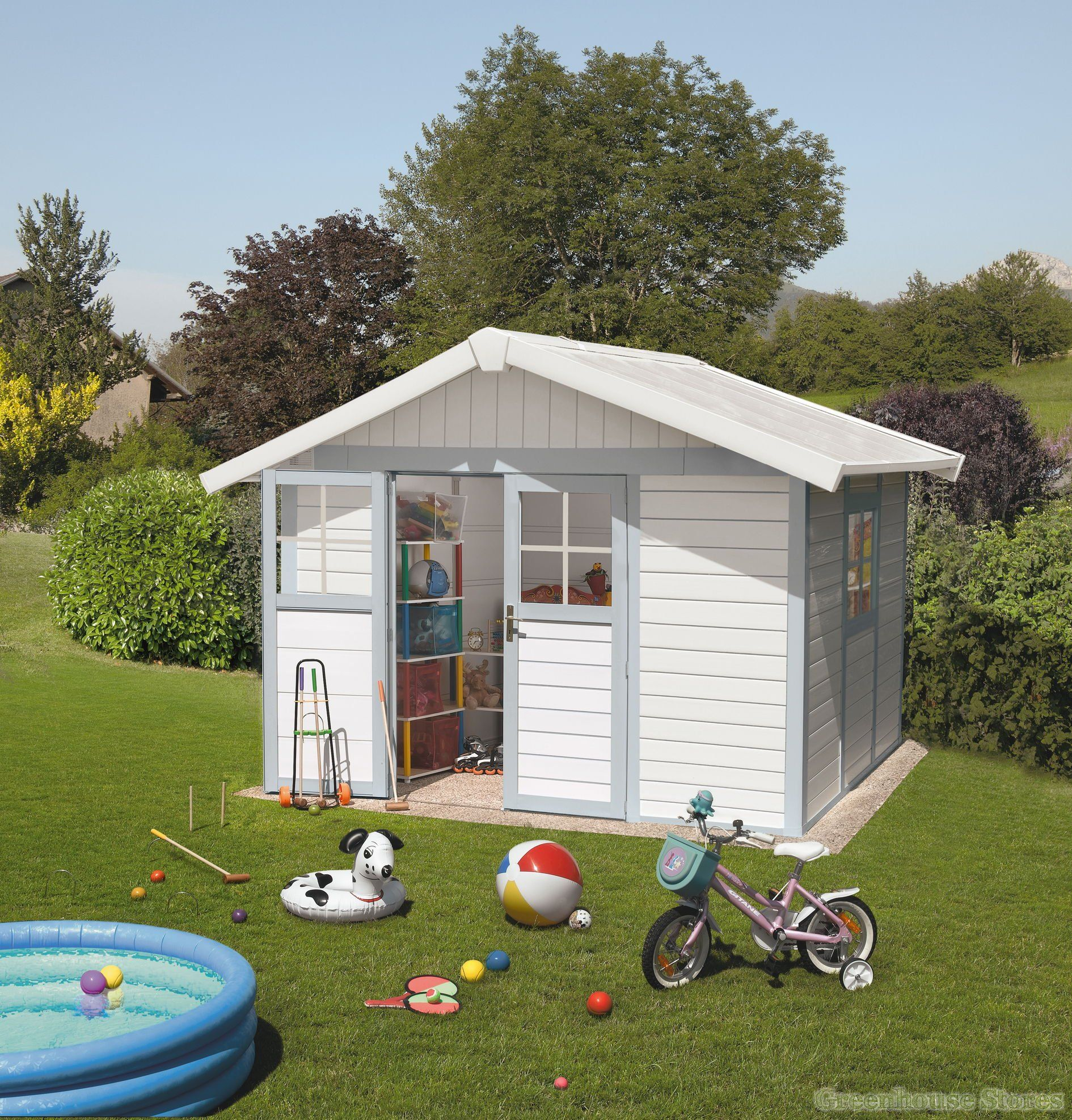 Grosfillex Deco 10x8 PVC Plastic Shed In White And Pale