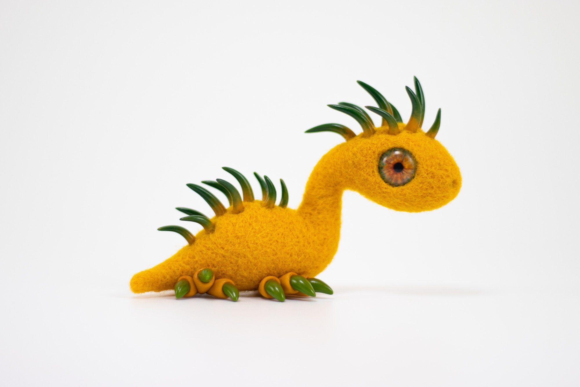 Felt dragon needle felted dragon polymer clay dragon Yellow Dragon
