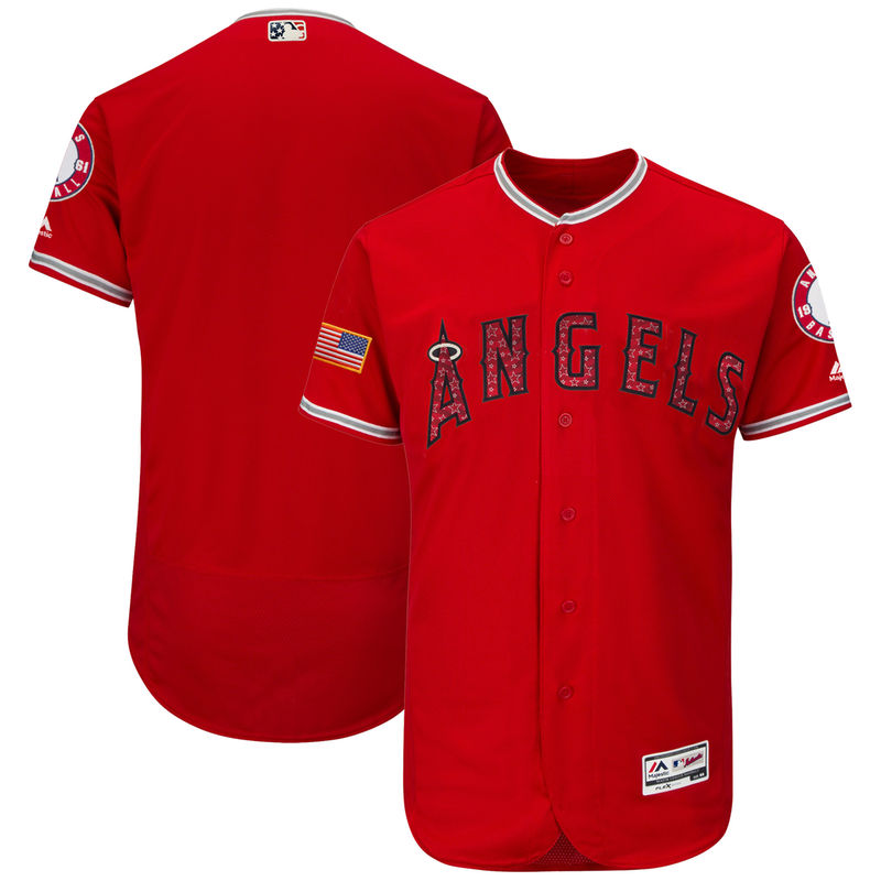 d8288832c Los Angeles Angels Majestic 2018 Stars   Stripes Flex Base Team Jersey –  Scarlet