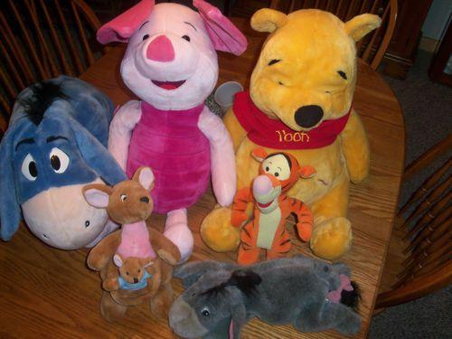 Large Winnie Pooh Eeyore Piglet Stuffed Animals 4 Small Kanga Roo Tigger