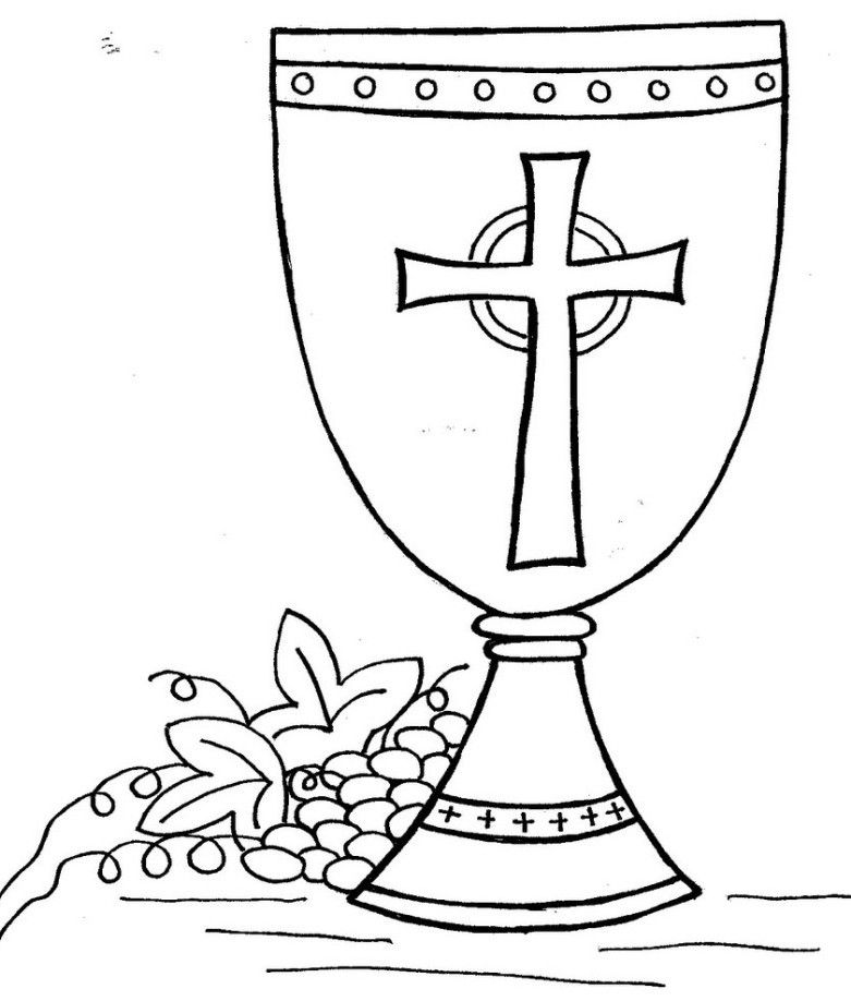 First Communion Chalice And Host Coloring Page Sketch ...