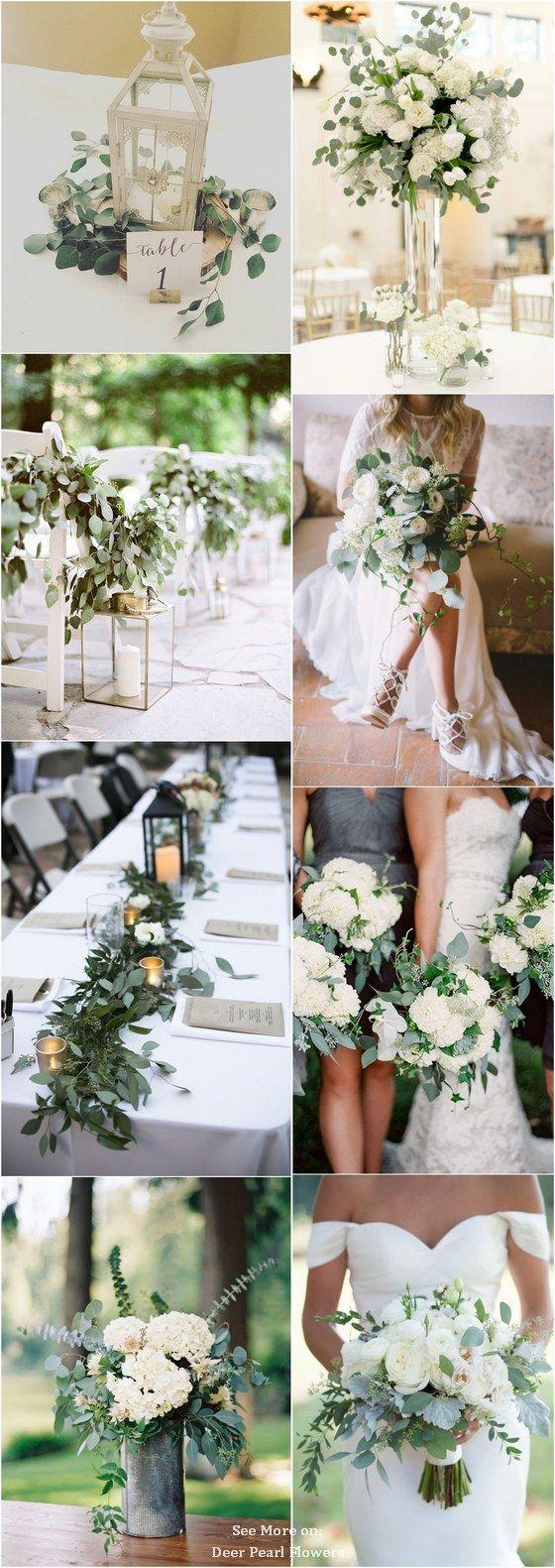 White wedding decoration ideas   Greenery Eucalyptus Wedding Decor Ideas  White wedding