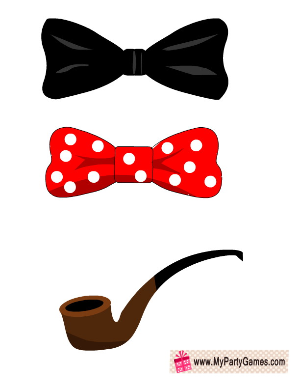bow ties and pipe props for photo booth - Valentine Ties