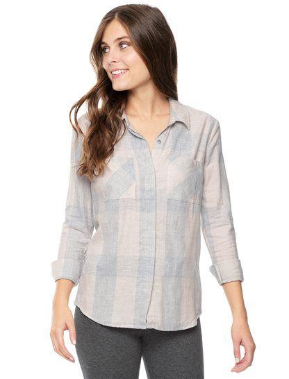 Splendid Womens Long Sleeve Plaid Button Up