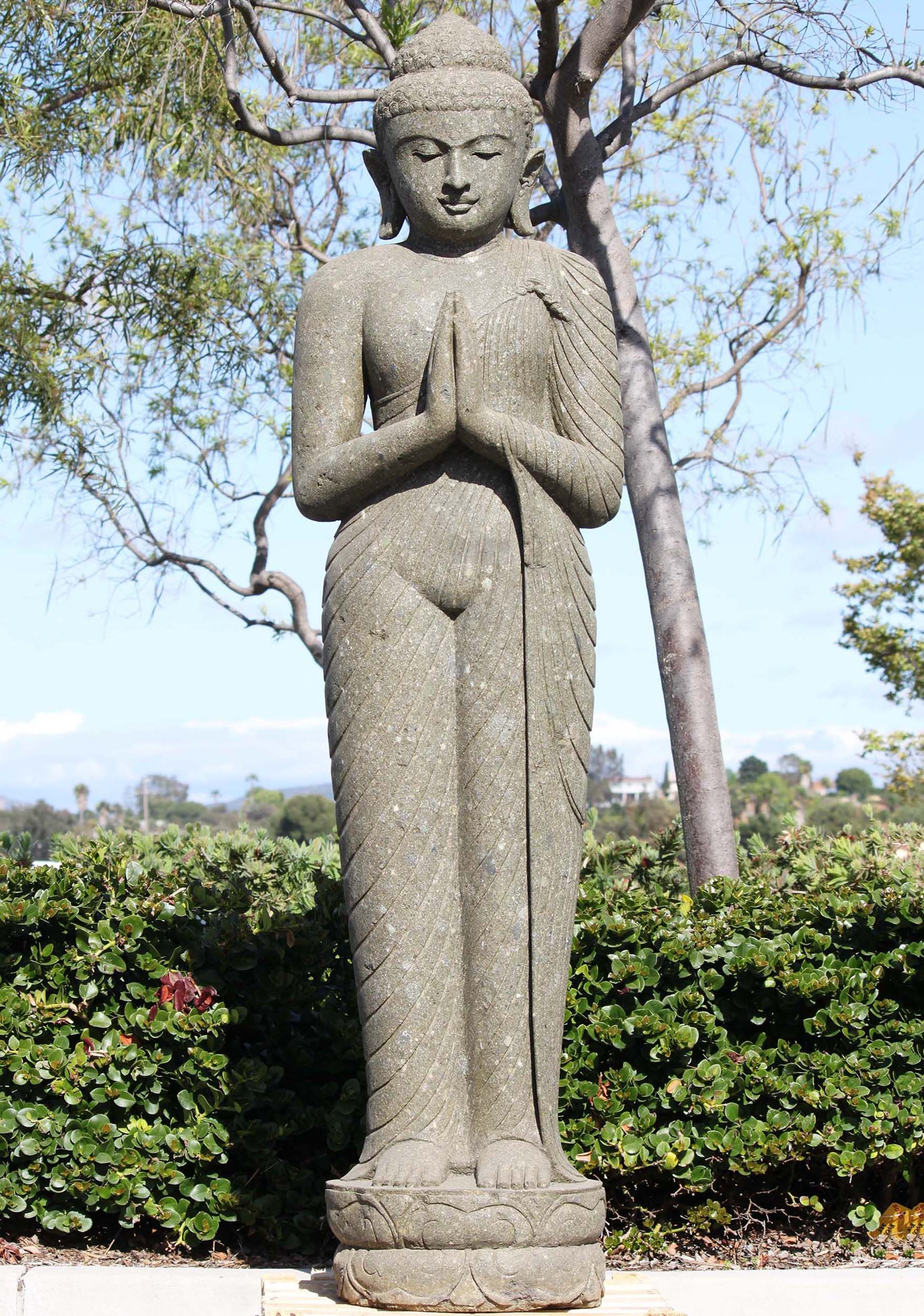 Sold Stone Standing Namaste Buddha Statue 80 Pinterest Namaste