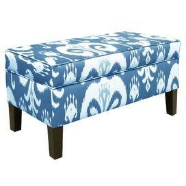 Upholstered storage bench in blue ikat with matching piping. Handmade in the USA.Product: Storage benchConstruction Material: Polyurethane and polyester foamColor: PorcelainFeatures:   Made in the USA    Ikat design   Dimensions: 21 H x 39 W x 19.5 DNote: Assembly requiredCleaning and Care: Spot clean