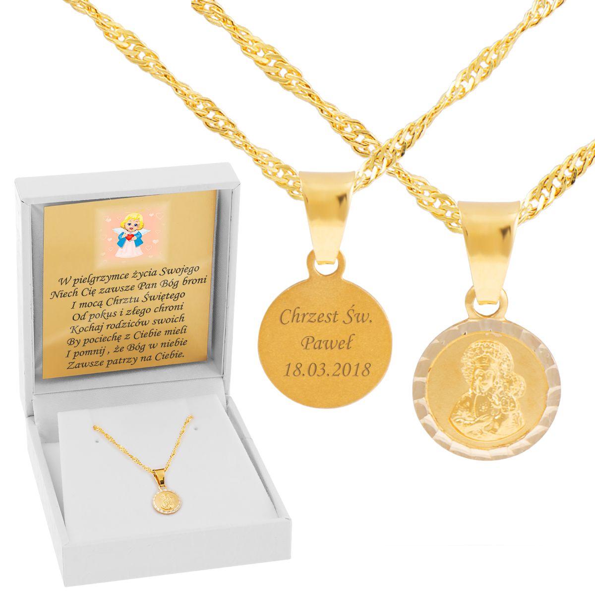 Zloty Medalik Matka Boska Czestochowska Pr 585 Grawer With