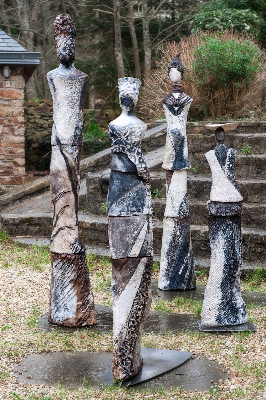 Ensemble sculpture raku pour jardin ceramique for Sculpture moderne pour jardin