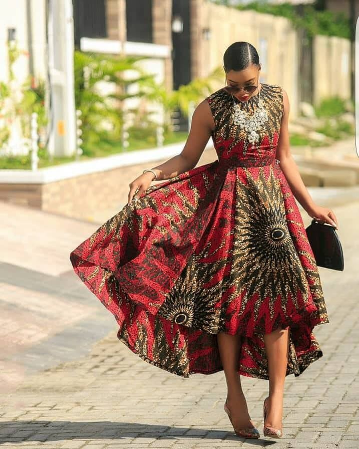 Red african print dress,Highlow gown,Red ankara dress,African highlow dress,African print gown,African clothing for women,Ankara dress, #ankaramode