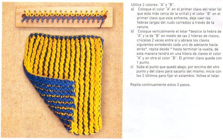 Knitting In Spanish Instructions : Telar rectangular y en español
