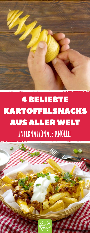 4 beliebte Kartoffelsnacks aus aller Welt. Internationale Knolle! #rezepte #lecker #kartoffeln #pommes #snacks #carneconpapas