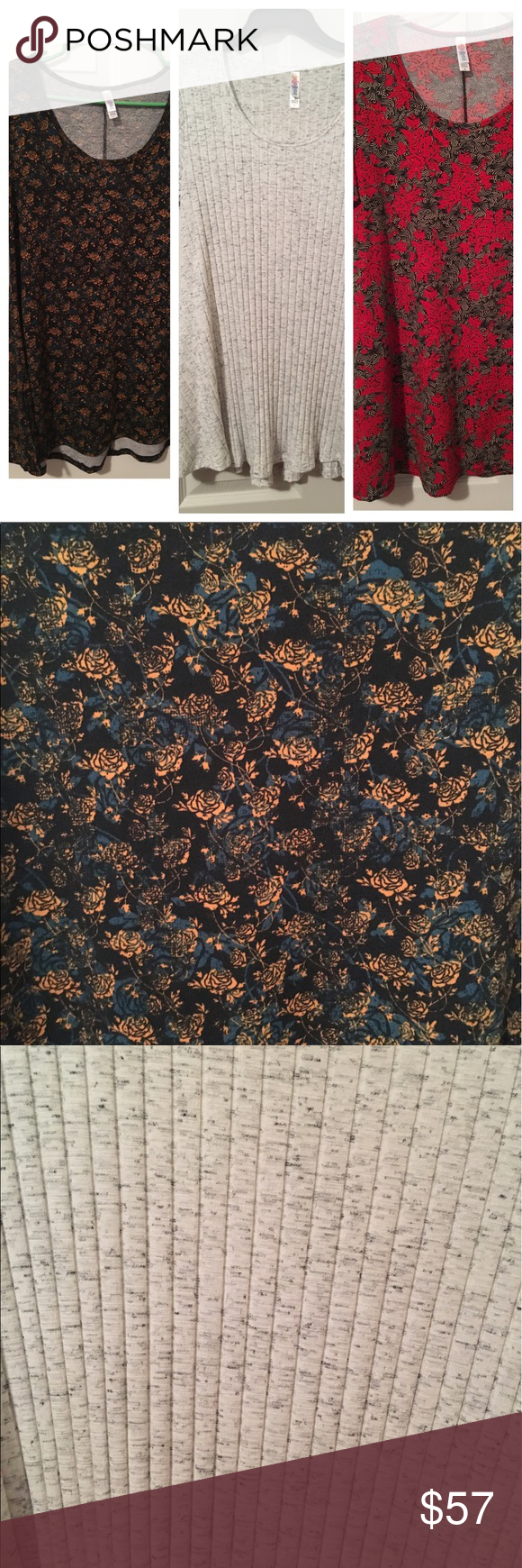 Bundle -  LuLaRoe perfect tees (1 XS & 2 Small) 3 LuLaRoe perfect tees in EUC  One small white ribbed perfect tee with black/gray heathering throughout - sweater material One small dark blue perfect tee with light blue and mustard distressed rose print throughout - slinky material One XS perfect tee with cream/black abstract design throughout and red floral print overlay - cotton material LuLaRoe Tops Tees - Short Sleeve