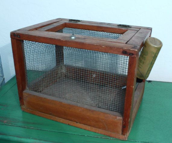 Vintage Handmade Pet Carrier Hamster Cage Mouse Cage Wood And Chicken Wire Pet Carriers Handmade Pet Mouse Cage