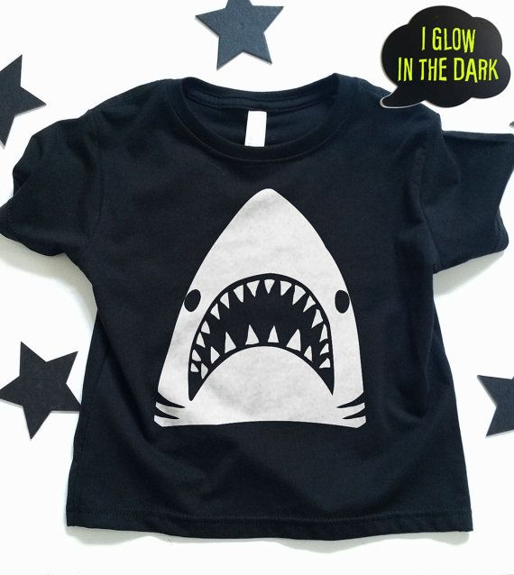 9e96a141d1 Boys Shark T shirt. GLOW in THE DARK shark tshirt design, baby t shirt,  toddler tee shirt, funny kids t shirts , kids clothes,baby clothes,