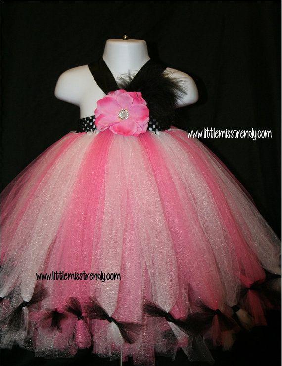 Pink White and Black Petti Tutu Dress Tutu by LittleMissTrendyTutu, From $22.00