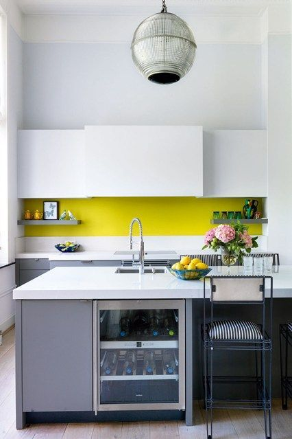 Best A Minimalist Kitchen In Grey And White And With A Neon 400 x 300