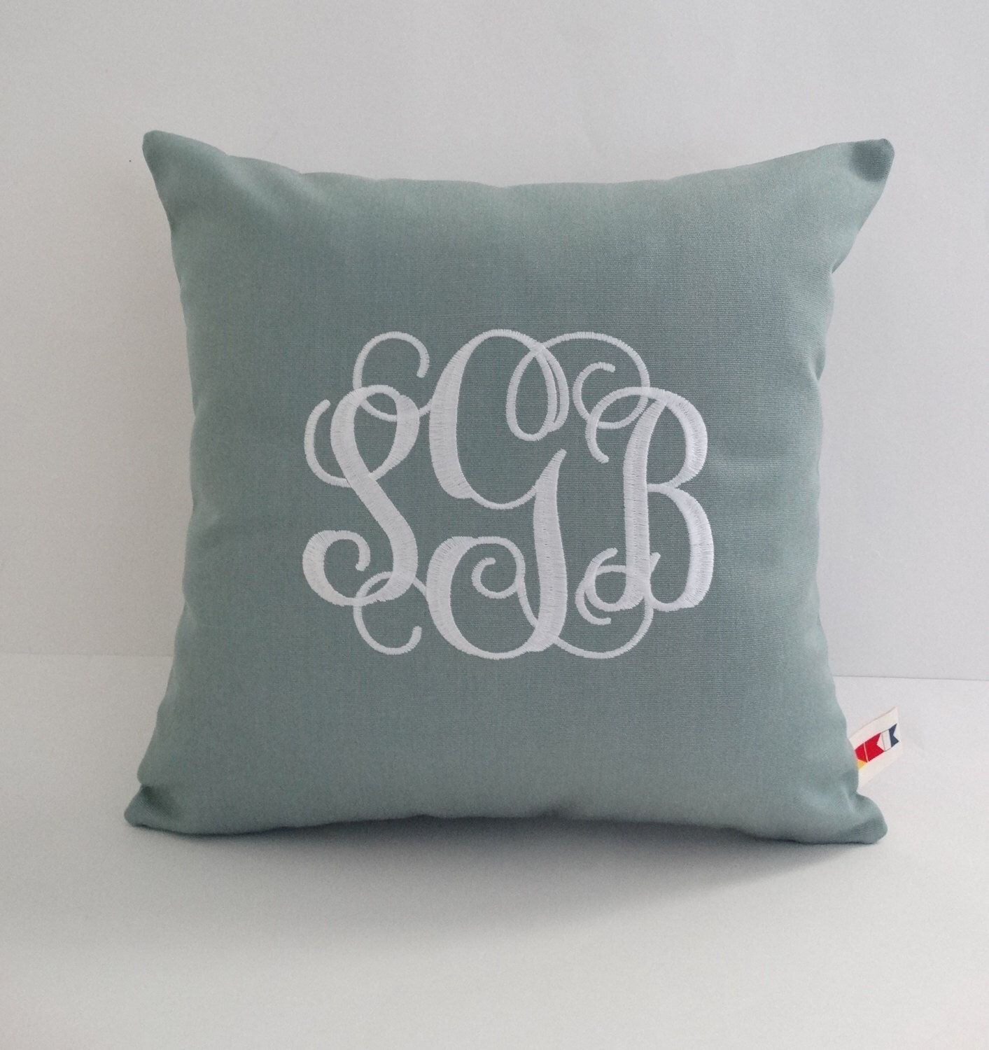 Initial Pillow Covers Wedding Monogram Pillow Cover Sunbrella Indoor Outdoor Embroidered