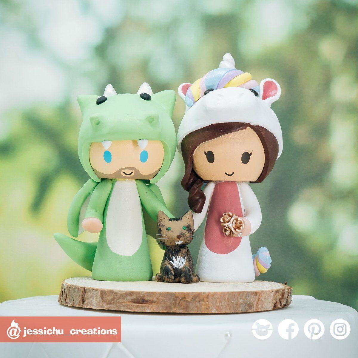 Dragon groom unicorn bride with pet cat custom handmade