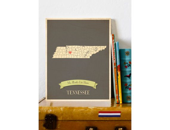Tennessee Roots Map 11x14 Customized Print by MyRoots on Etsy, $40.00