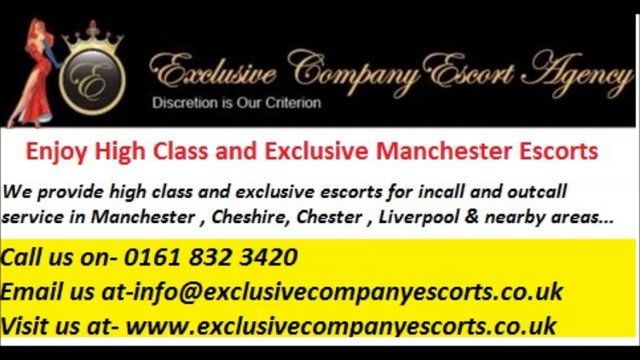 Visit us at- http://www.exclusivecompanyescorts.co.uk Exclusive Company escorts is a Manchester escort agency provides dazzling and exclusive escorts for in-call and out-call.We offer mature, busty, ebony and blonde escorts service in Manchester.All Our girls are extremely high class companions Manchester escorts.