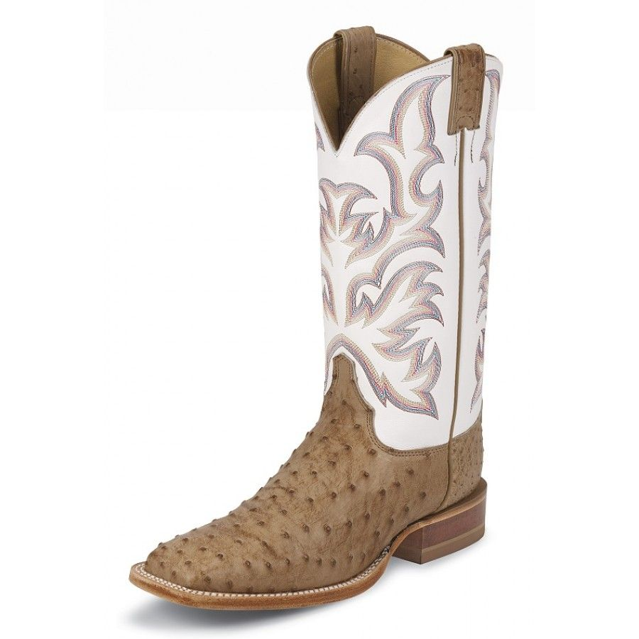 e1289bf8c27 Justin Mens' Cowboy Boots Antique Tan Vintage Full Quill Ostrich in ...