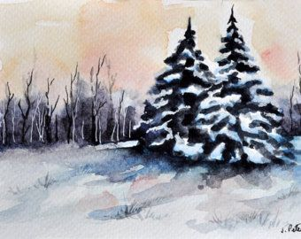 ORIGINAL Watercolor Painting, Miniature Painting, Winter Landscape, Small Format Art, Christmas Trees Illustration 4x6 inch