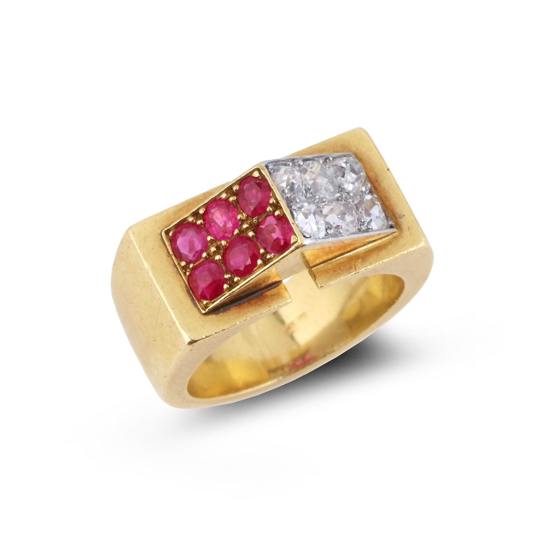 RENE BOIVIN. A ruby and diamond 'Toit' ring