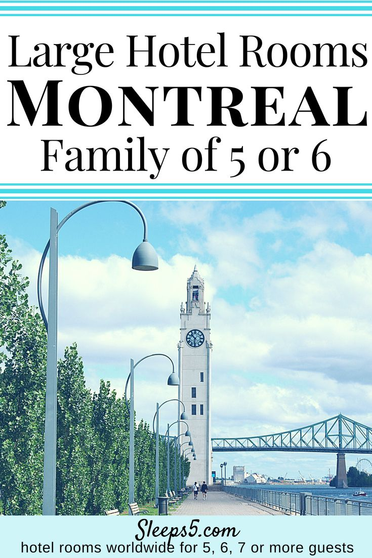 Kid-friendly hotels in Montreal with a Family Room or Suite to Sleep 5 or 6 persons in one room. Perfect for visiting Montreal with Kids! Queen beds, pull-out sofa bed, apartment, kitchen, breakfast. #Montreal #travelwithkids #familytravel #MontrealwithKids #familyvacation